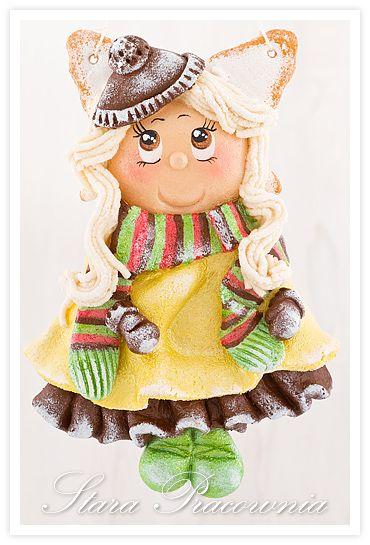 Aniołek z masy solnej, salt dough angel www.facebook.com/starapracownia