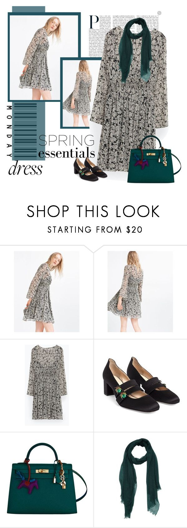 """monday dress"" by bodangela ❤ liked on Polyvore featuring Zara and Hermès"
