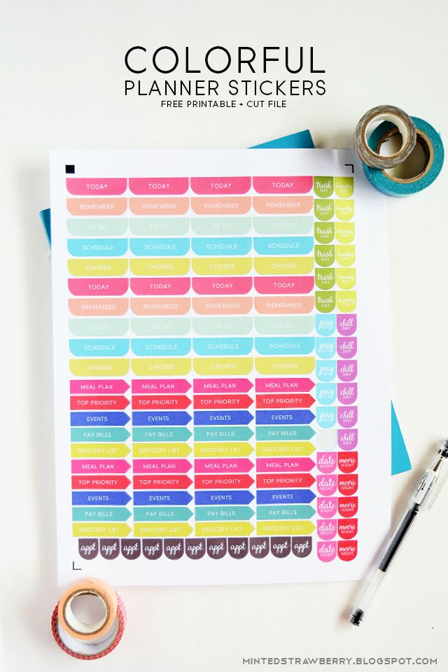 Free Printable: Colorful Planner Stickers Silhouette Cut File: