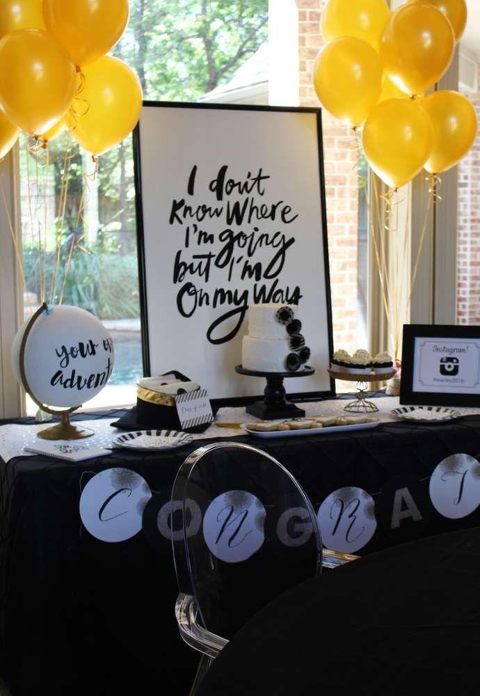 Stylish Black White Gold Graduation Party