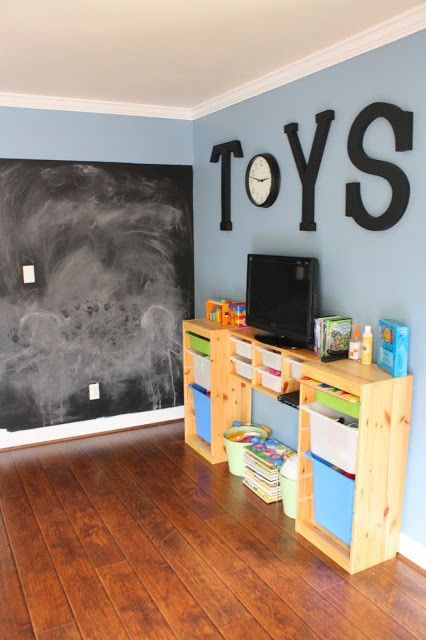 Chalkboard wall and bean bags/chairs