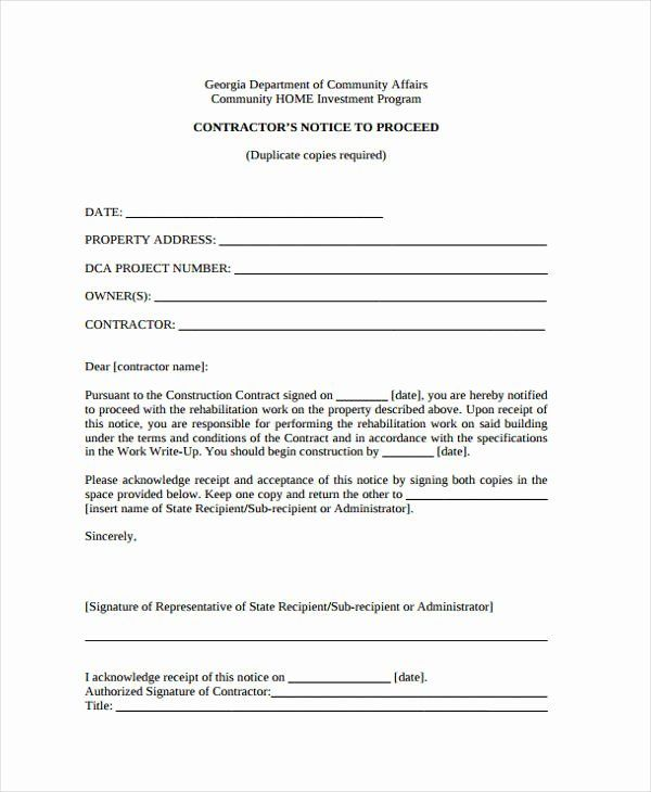 Notice To Proceed Form Inspirational 9 Notice To Proceed Templates Free Sample Example Format Download Business Template Templates Spa Business Cards