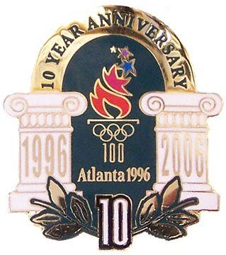 1996 Atlanta Olympic Games 10 Year Anniversary Pin