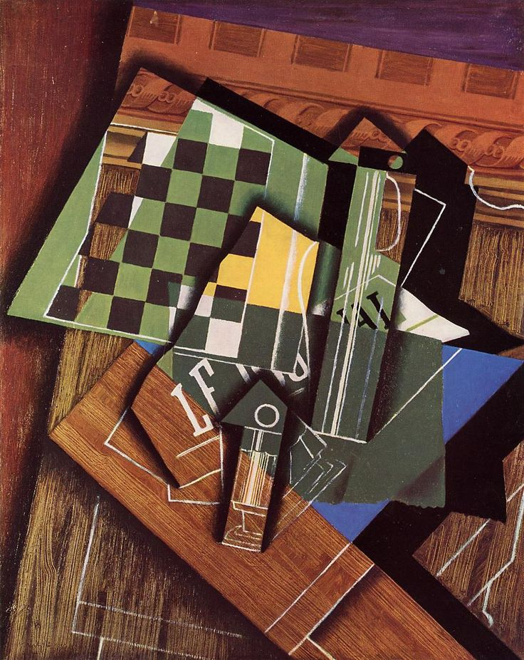 Juan Gris, The Checkerboard 1915 , oil on canvas , cubist still life | Art Institute of Chicago