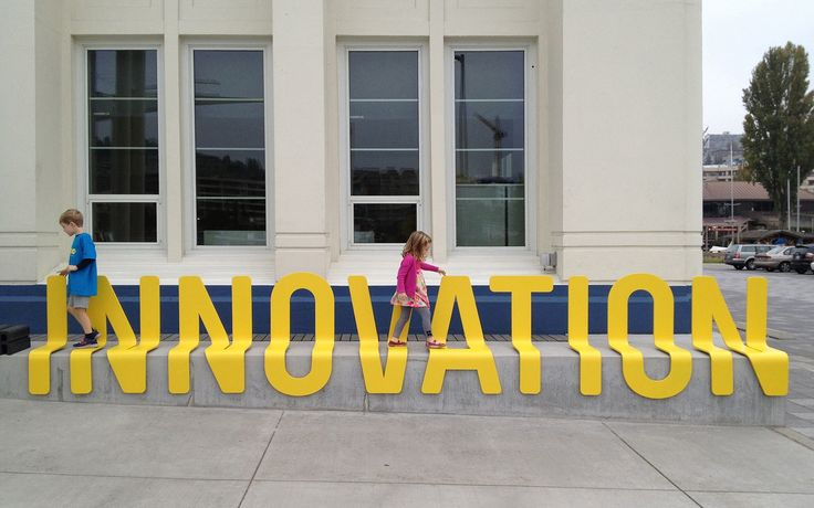 Typography across multiple planes. Bezos Center for Innovation | Studio Matthews.