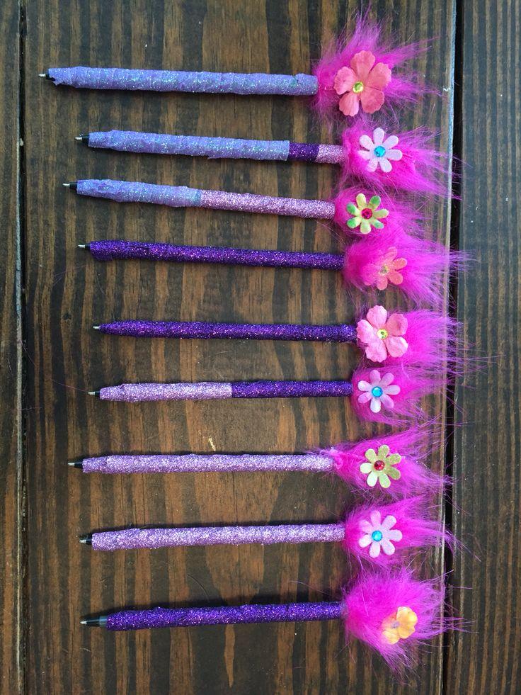 Troll birthday favors. Handmade troll pens.