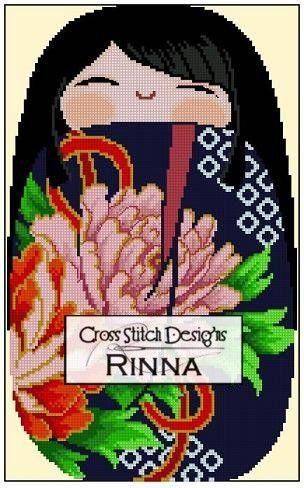 KOkeshi Chibi Doll MEGUMI                         Cross Stitch Designs Rinna