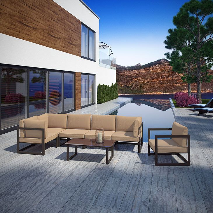 Modway Furniture Modern Fortuna 7 Piece Outdoor Patio Sectional Sofa Set #design #homedesign #modern #modernfurniture #design4u #interiordesign #interiordesigner #furniture #furnituredesign #minimalism #minimal #minimalfurniture