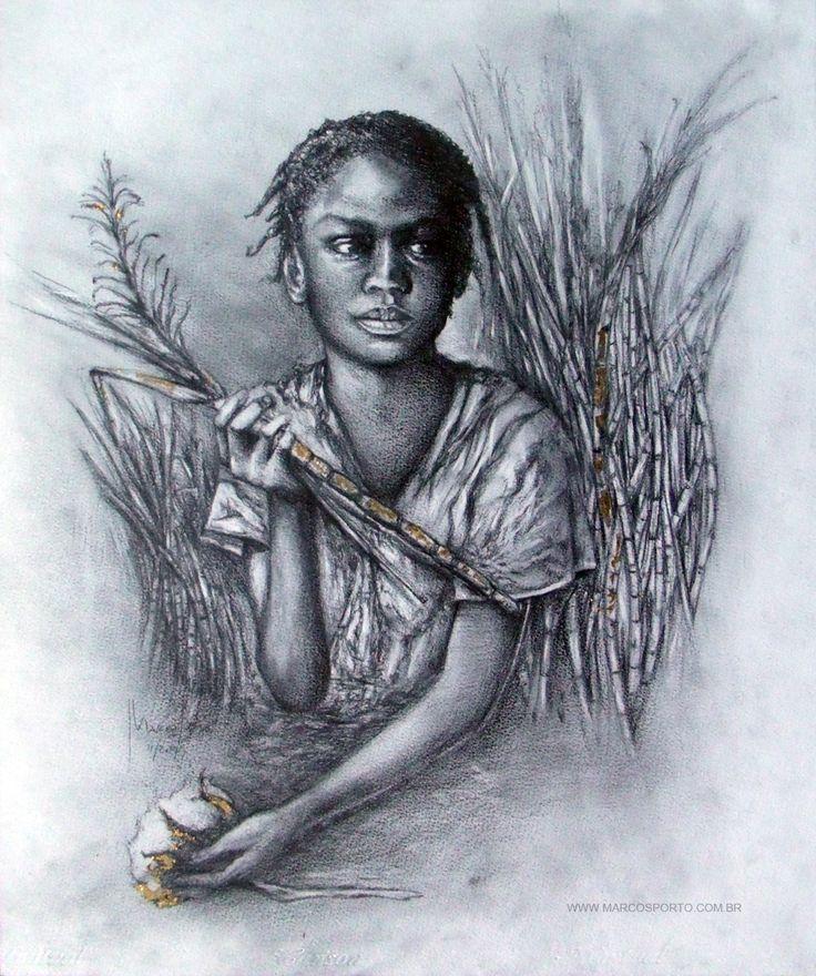 """""""kILUMBA"""" - 55 x 65 cm - Carvão, grafite e folhado a ouro s/ papel."""