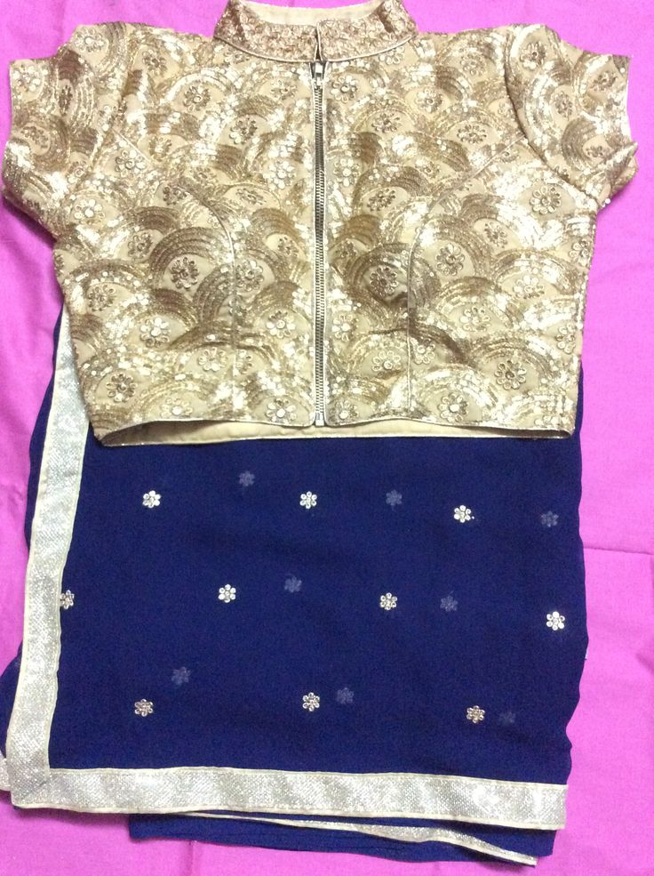 Georgette saree with sequins jacket blouse