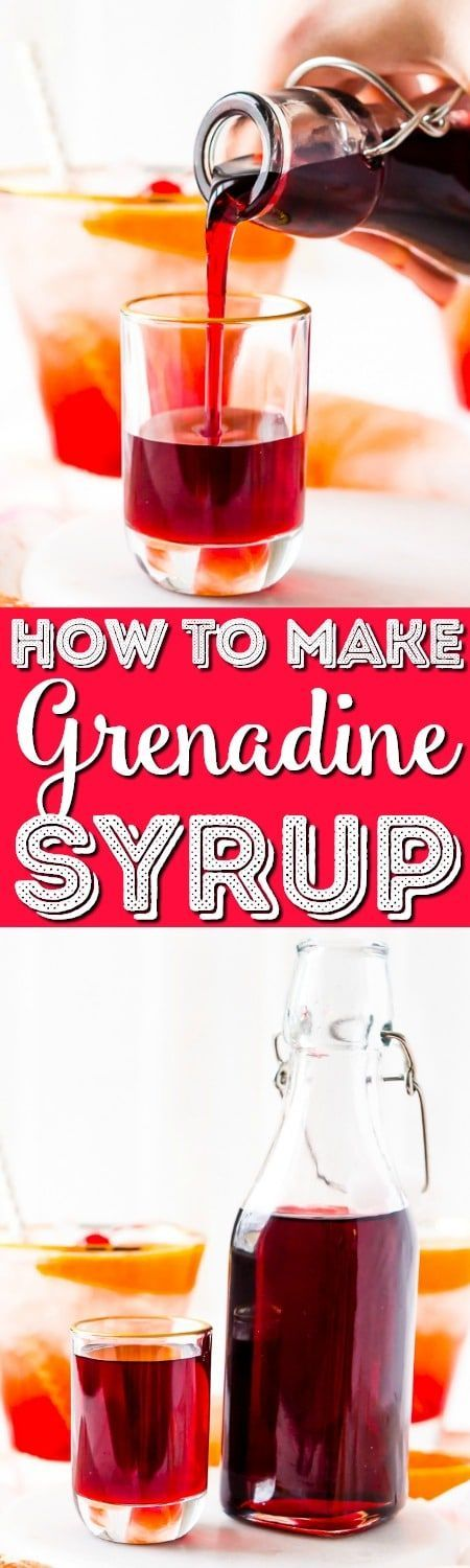 This recipe for Grenadine Syrup allows you to make this fresh and flavorful cocktail syrup right at home. Made with pomegranate juice, sugar, and lemon juice, it's ready to use in about 30 minutes and tastes so much better than that store-bought stuff! #grenadine #pomegranate #drink #cocktails