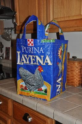DIY Chicken Feed Sack Tote.   * So cute!  These bags could be recycled from so many things, depending on how lightweight, heavyweight or stretchable you want one to be.  *