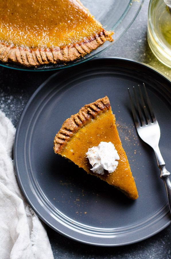 Healthy Pumpkin Pie with easy whole wheat and almonds crust with a touch of avocado oil, and silky delicious pumpkin puree filling. Nothing complicated in this recipe. | ifoodreal.com