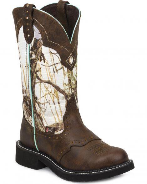 "Justin Gypsy 12"" Brown & White Winter Camo Round Toe Cowgirl Boots"