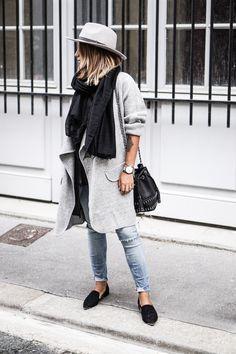 Grey fedora + black scarf + black bucket bag + grey jacket + ripped denim + black pointy toed flats