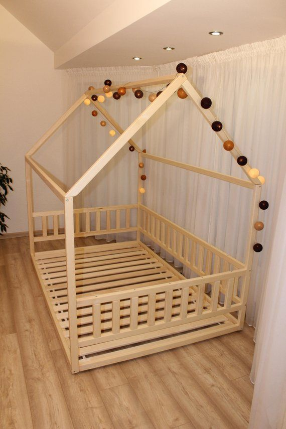 Toddler House Bed Montessori Floor Bed Teepee Bed Kid Bed Toddler House Bed Kid Beds Floor Bed