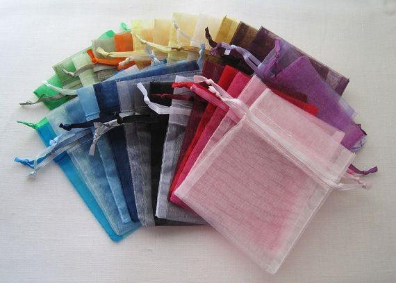 200 Organza Bags, 4x6 Inch Sheer Fabric Favor Bags, For Wedding Favors, Drawstring Jewelry Pouch- Choose Your Color Combo
