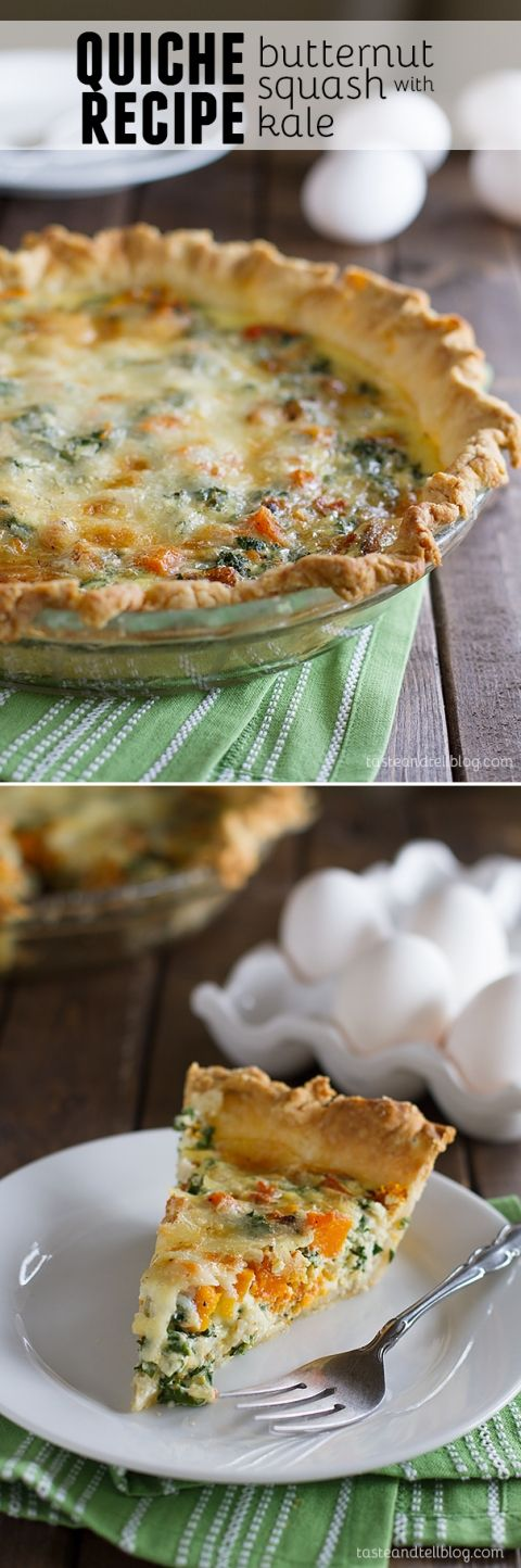 Quiche Recipe with Butternut Squash and Kale - Taste the flavors of the season in this quiche recipe that is filled with roasted butternut squash, kale and gruyere cheese.
