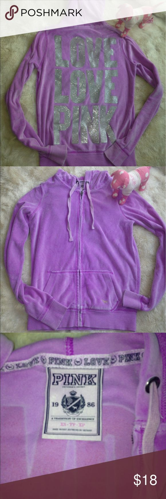 Victoria secret pink purple zip up hoodie xs bling Size xs. Very cute. Has small hole in sleeve not noticeable when on. Cute bling zip up hoodie. PINK Victoria's Secret Jackets & Coats