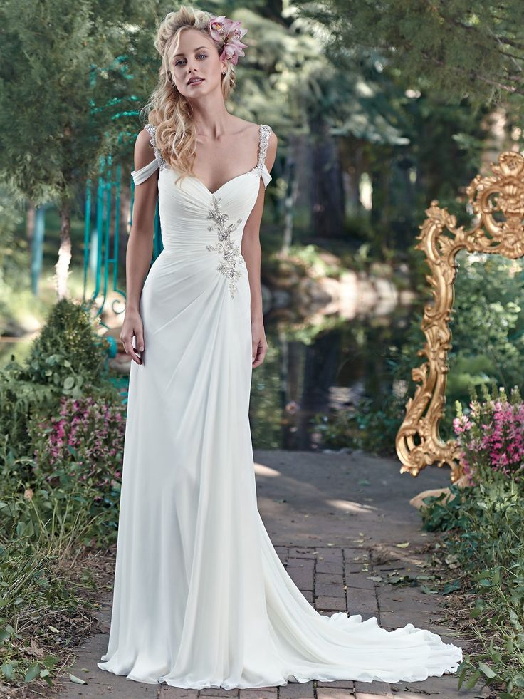 Maggie Bridal By Sottero This Elegant Gossamer Chiffon Sheath Gown Is Sweetened With A Ruched Bodice Accented Swarovski Crystal And Pearl