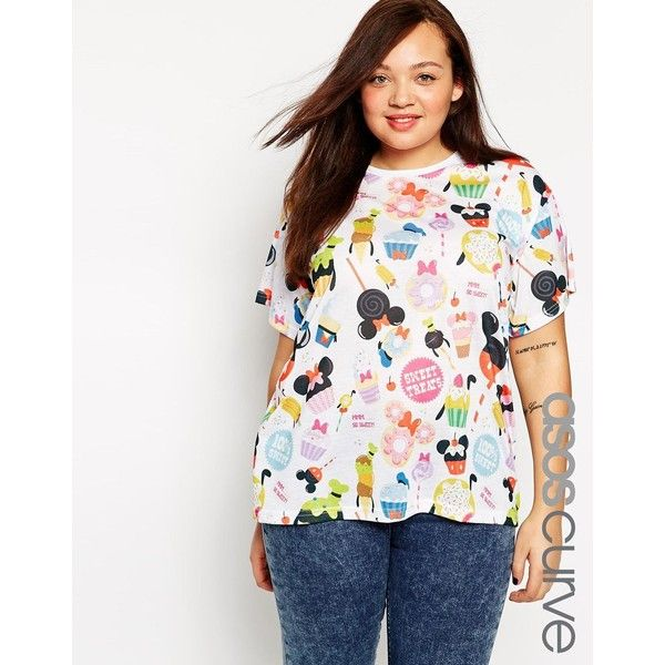ASOS CURVE T-Shirt with Disney Solar Pop Print ($30) ❤ liked on Polyvore featuring tops, t-shirts, multi, plus size, print top, plus size t shirts, plus size white t shirt, patterned tops and women's plus size tops