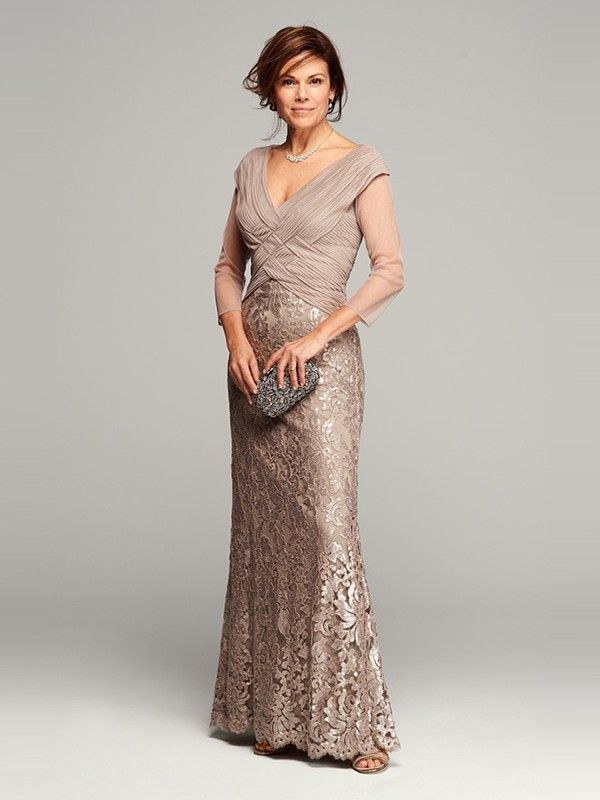 A-line/Princess V-neck 3/4 Sleeves Lace Floor-length Mother Of The Bride Dresses