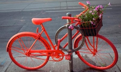 Upcycled bicycles    Caroline Macfarlane and Vanessa Nicholas, from Toronto's OCAD University, gave a bright face-lift to an abandoned Raleigh as a work of art, and part of theGood Bike Project. They hope to make it a city-wide phenomenon.    (via guardian.co.uk)