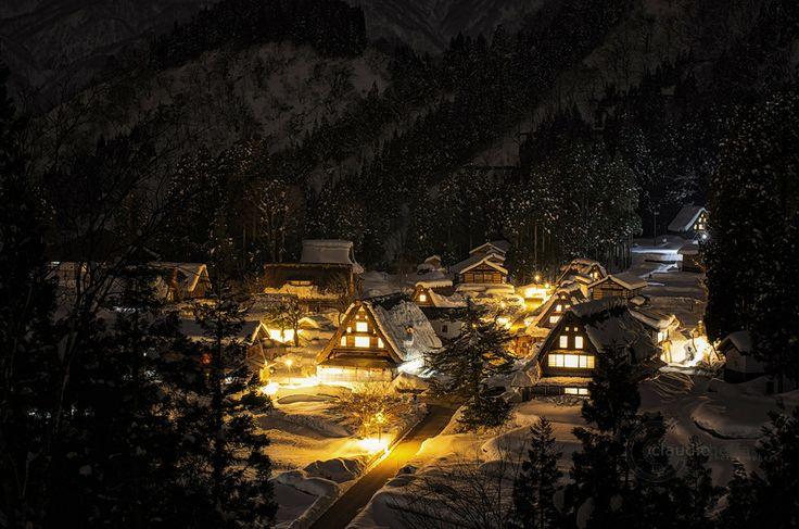 """In the coldest winter night"", traditional village of Ainokura, Japan. www.phoclab.com by Claudio Beffa"