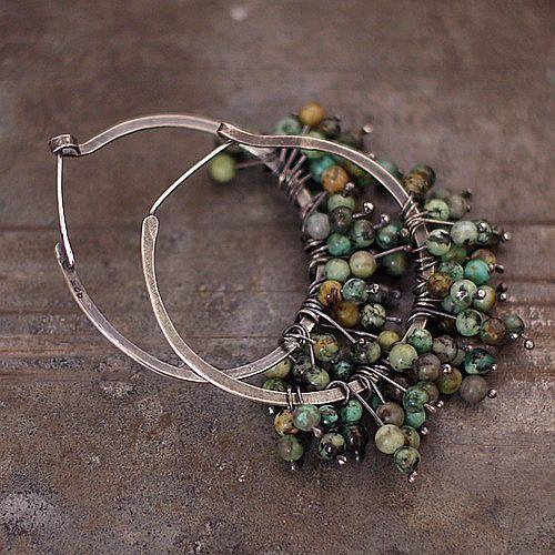 Handmade earrings, sterling silver, African Turquoise, patina. Signed © ewa lompe D I M E N S I O N S :  diameter of the wheel/hammered: 3.5 cm or 1.4