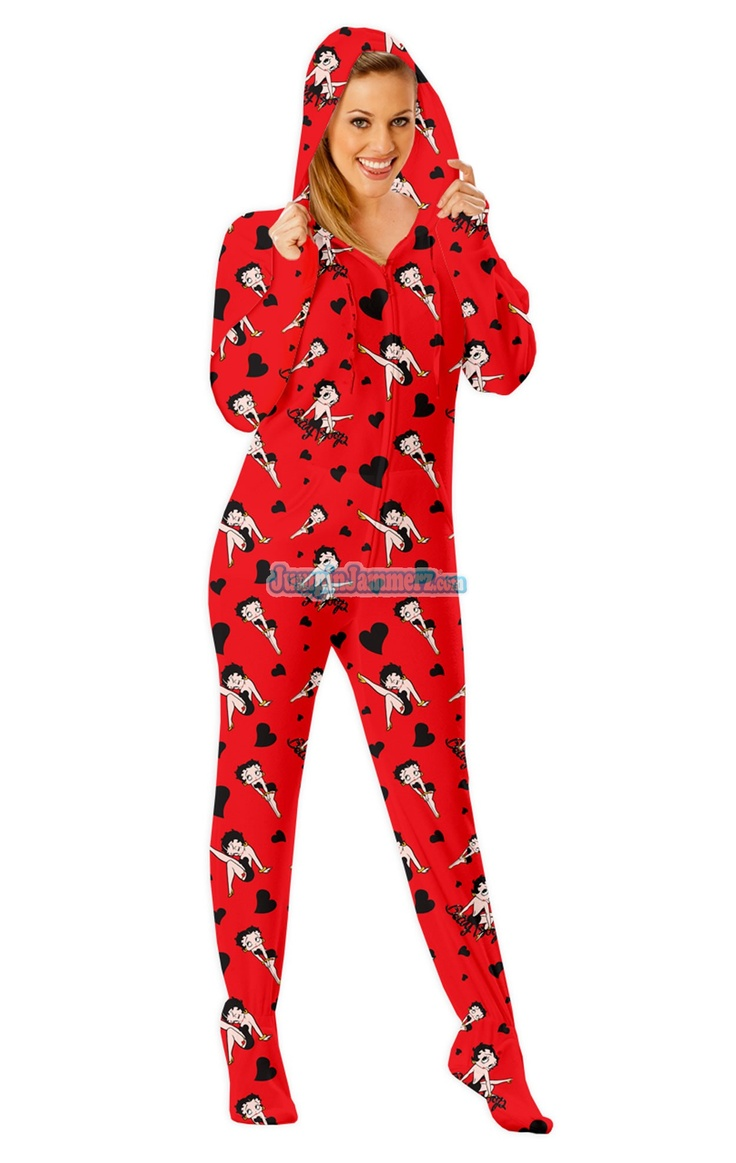 Betty Boop Footed Pajamas - These Footies are loaded with extras featuring: Hoodies, thumb holes, logo zipper pull, front kangaroo pockets and a left shoulder iPhone pocket.  $64.99