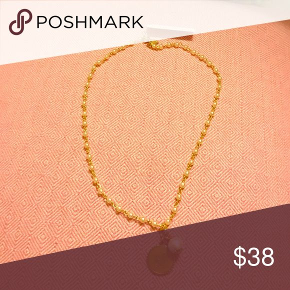 """John Wind pearl charm necklace New with tags. Initial L. Length of chain is 9"""" john Wind  Jewelry Necklaces"""