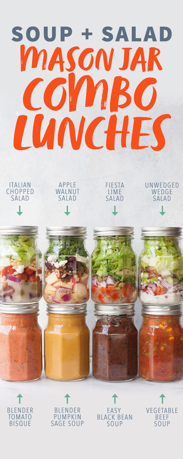 Soup and Salad Mason Jar Combo Lunches