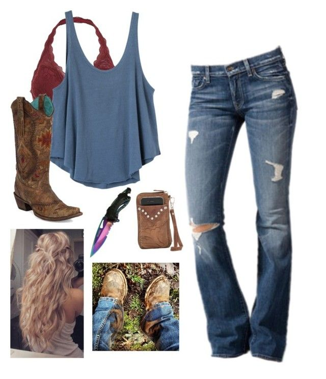 """half assed"" by emwhite33 ❤ liked on Polyvore featuring RVCA, 7 For All Mankind and Corral"