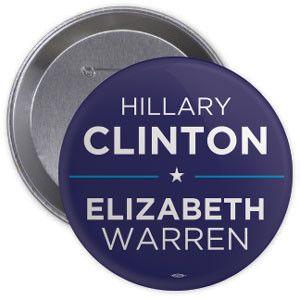 Clinton / Warren 2016 Button