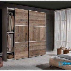 Mob0050 Armadio scorrevole in legno grezzo - Armadio Guardaroba ideale per completare l'arredamento della zona notte.