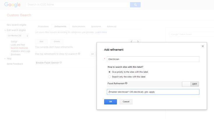 The Art Of Building A Google Custom Search Engine – Bonus: Adding Complex Refinements