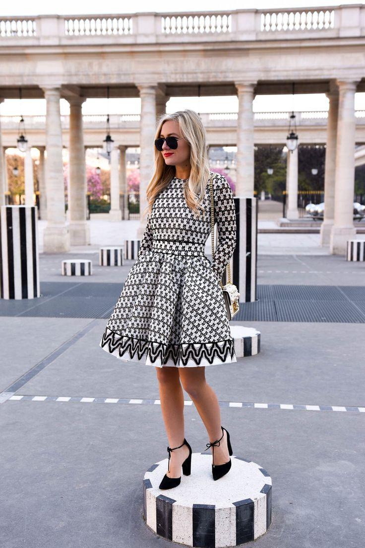 Maje-Lace-фигурист-платье, черно-белое платье, Maje-платье, Париж, Lo-Мерфи, Travel-Blogger, Пале-Рояль, Gucci Перл-сумка, Gucci-Padlock, Стив Мэдден-Heels
