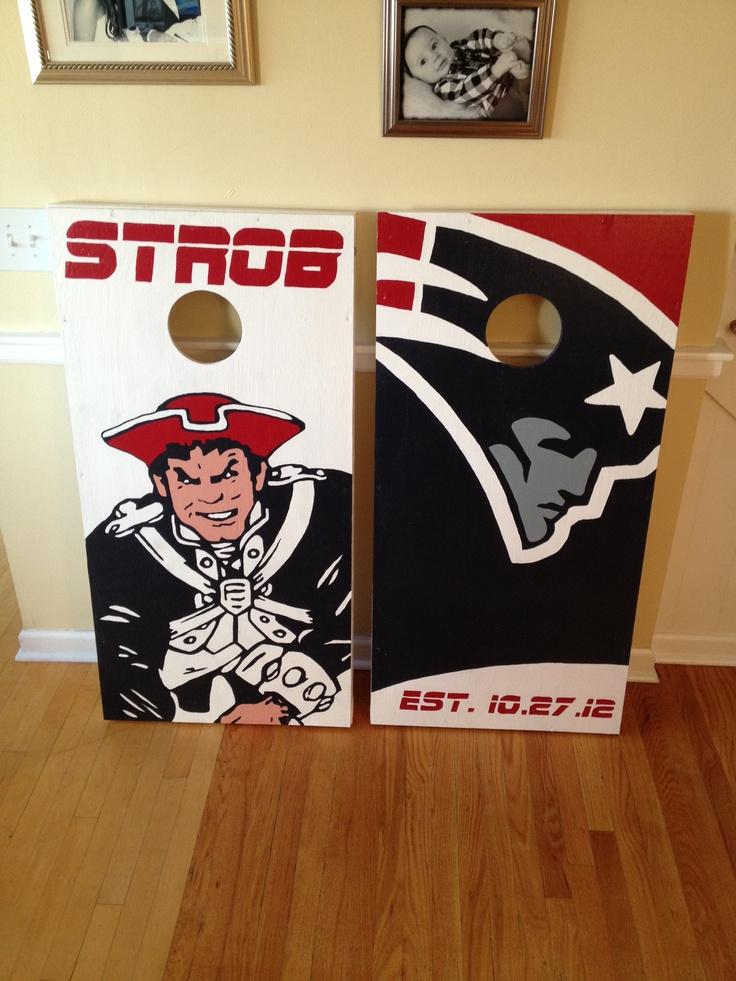 New England Patriots Cornhole Boards. 100% Hand Painted. Danscustomgames.com