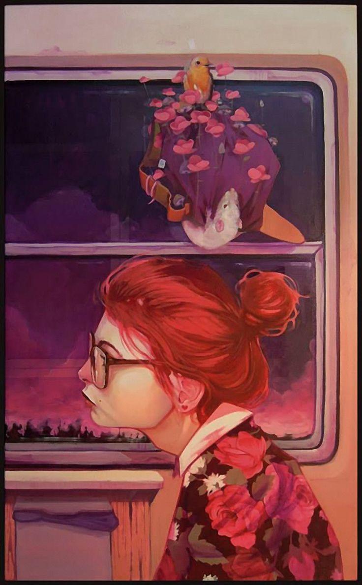 """Ugly Heros"" Series - Etam Cru, Montana Gallery, Barcelona 2014 {graffiti art female redhead eyeglasses woman profile painting #loveart}"