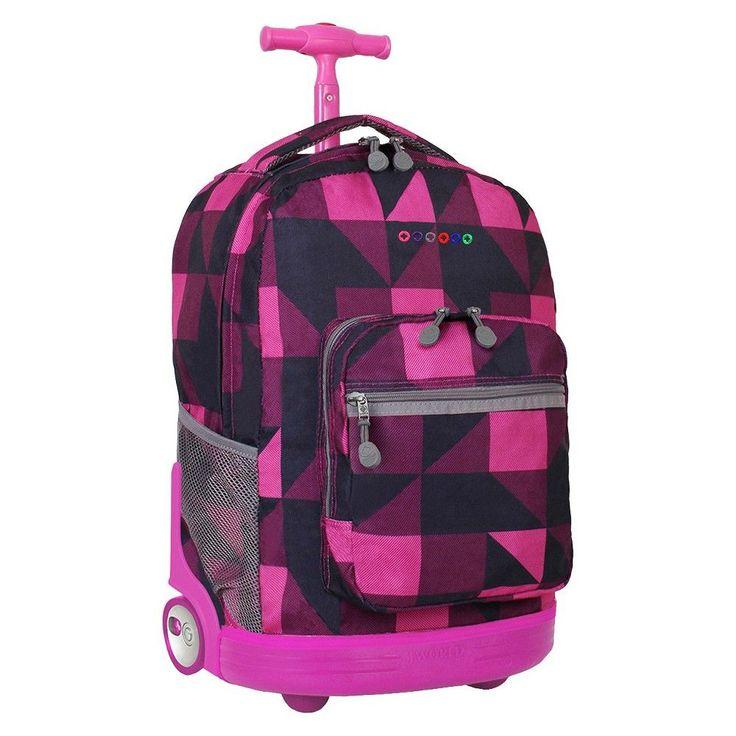 J World 18 Sunrise Rolling Backpack - Pink/Black