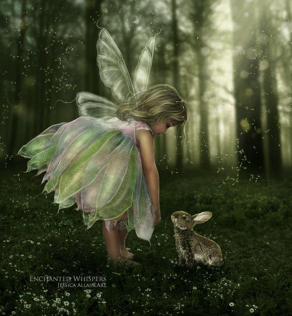Fantasy Art. Child fairy with rabbit.