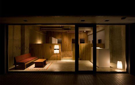 Salão de beleza Troove, em Gifu, Japão, projeto de arquitetura de Hiroyuki Miake. Troove Beauty Salon by architect Hiroyuki Miyake, in Gifu, Japan.
