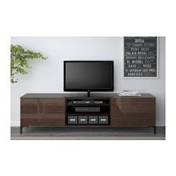 """BESTÅ TV unit with drawers, black-brown, Selsviken high-gloss/brown - black-brown/Selsviken high-gloss/brown - drawer runner, push-open - 70 7/8x15 3/4x18 7/8 """" - IKEA"""