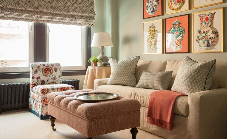 Southern Charm in New York City | Interior Design by Liliane Hart of Liliane Hart Interiors | Photography by Carter Berg | Modern Sanctuary | Living Room Inspiration | Traditional Living Room | Seating | Traditional Seating | Window Covering Inspiration | Window Shades