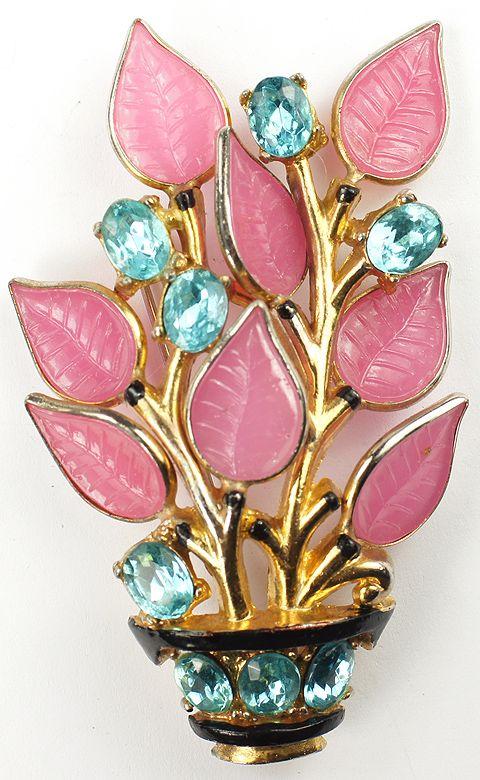 Trifari 'Alfred Philippe' Aquamarines and Pink Fruit Salad Leaves Flower Basket Pin