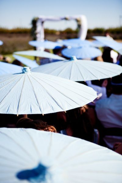 Outdoor Wedding Ideas - incase it rains -we could have different colored umbrellas