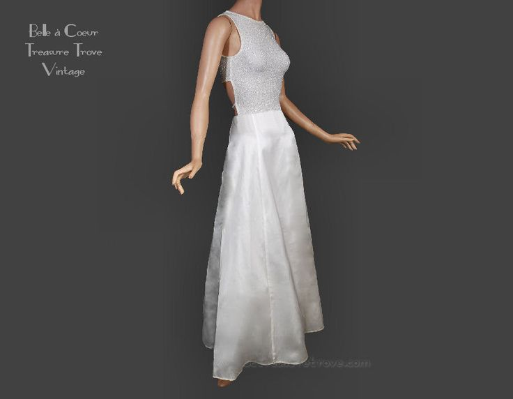 90s Windsor White Satin Silver Glitter Prom Dress Open Back by bctreasuretrove on Etsy