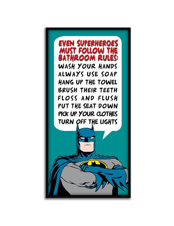 "Superhero, Batman Bathroom Rules, Kids Bathroom Decor, ""Batman Rules"",  9"" x 20""Gallery Quality Art Print"