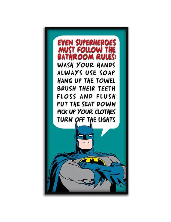 Batman bathroom bathroom rules and bathrooms decor on for Bathroom decor rules