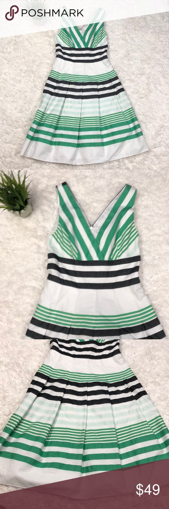 Kay Unger white v neck green stripe dress 100% cotton v neck lined rear zip white dress with green stripes. Classic garden party or day event dress Kay Unger Dresses